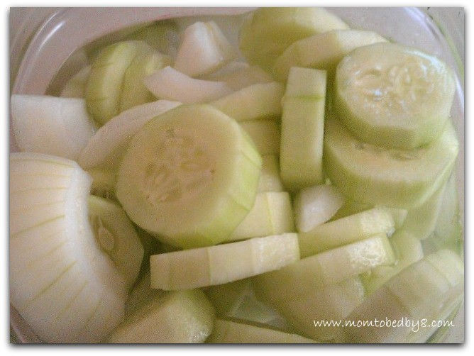 Pickled Cucumbers with Sweet Onions Recipe *only 25 calories per serving*