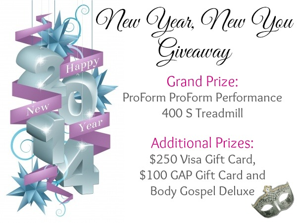 New Year, New You Giveaway! Win a ProForm Performance 400 S Treadmill, $250 Visa GC and more.