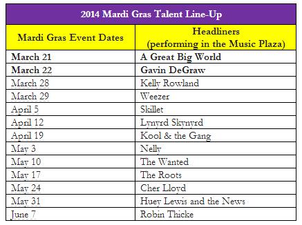 Mardi Gras Lineup