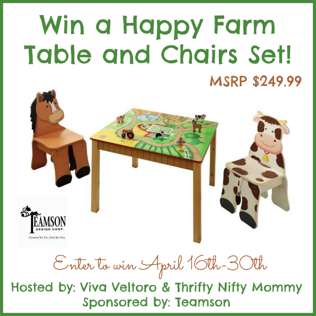 Teamson Happy Farm Collection Wooden Table and Chairs Set Giveaway