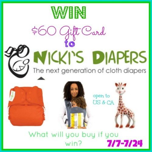 $60 Nicki's Diapers Gift Card Giveaway
