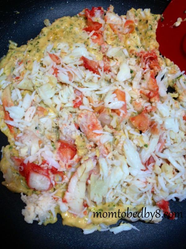 Red Pepper Crab Quesadilla Process