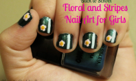 floral and stripes nail art for girls