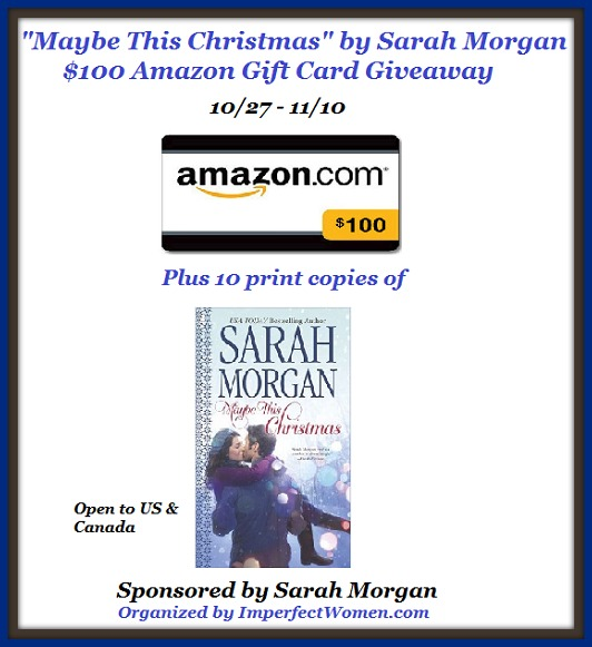 """Maybe This Christmas"" by Sarah Morgan $100 Amazon Gift Card Giveaway"