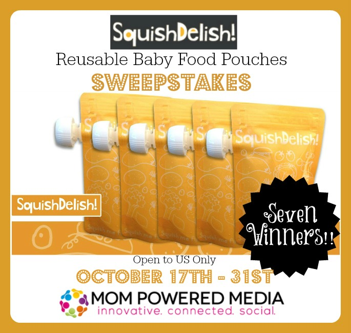 SquishDelish Reusable Baby Food Pouches Giveaway *7 winners*
