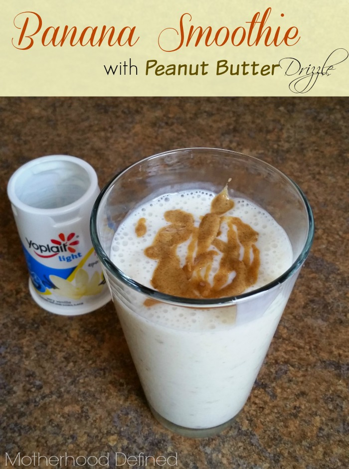 Yoplait Light Banana Smoothie with Peanut Butter Drizzle