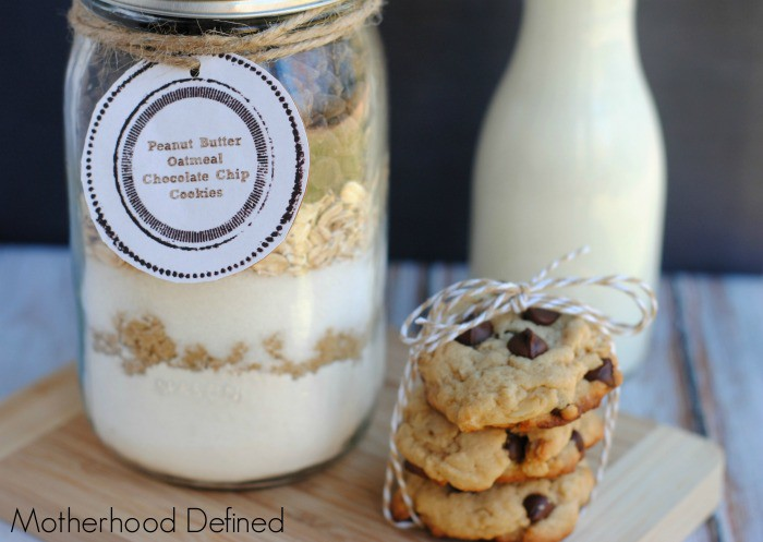 Peanut Butter Oatmeal Chocolate Chip Cookies Gift Jar