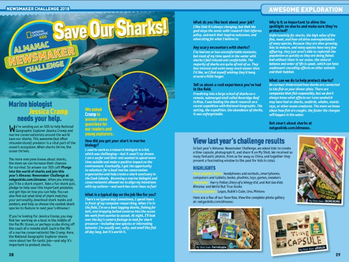 Nat Geo Kids Almanac 2018 Save Our Sharks!