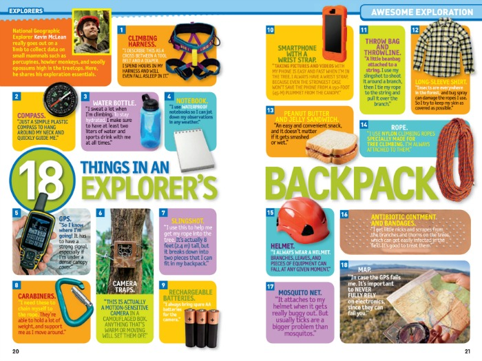 Nat Geo Kids Almanac 2018 Things in an Explorer's Backpack