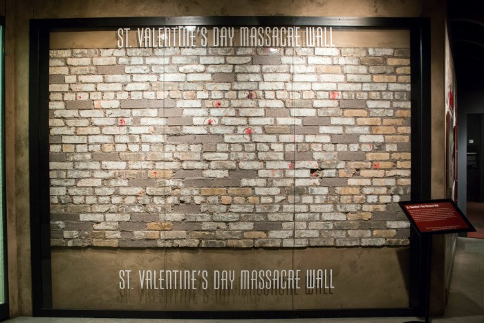 St. Valentine's Day Massacre brick wall located at The Mob Museum