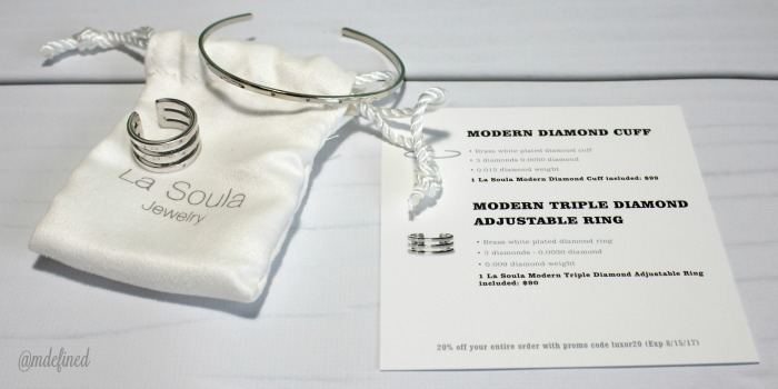 La Soula Modern Triple Diamond Adjustable Ring and Cuff - Value $189