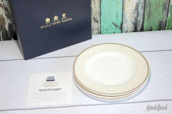 Haleyon Days Antler Trellis Plates *boxed set of 4* - Value $200