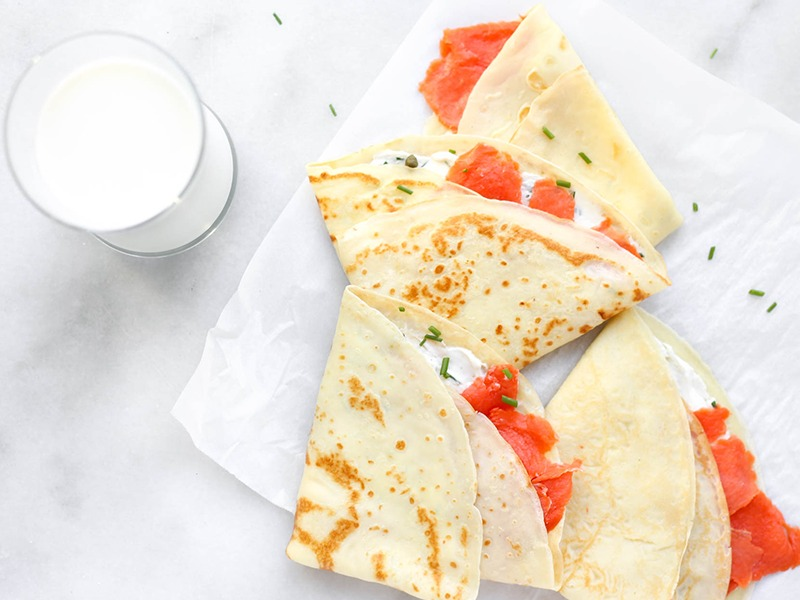 Savory Smoked Salmon & Cream Cheese Protein Crepes