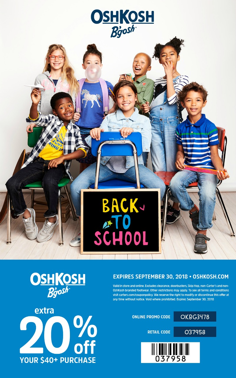 OshKosh Printable Coupon 20% off $40