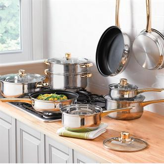 14-Pc. Gold-Plated Stainless Steel Cookware Set