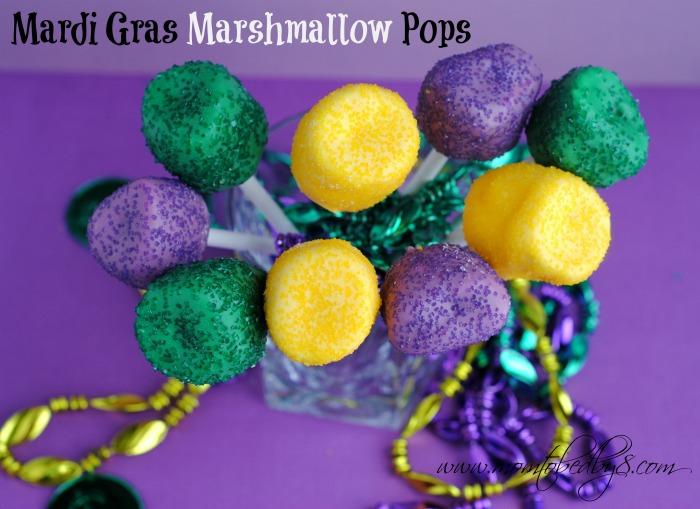 Mardi Gras Marshmallow Pops