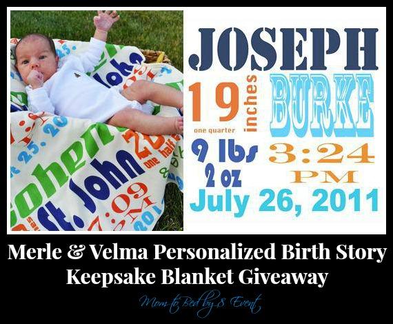 Merle & Velma Personalized Birth Story Keepsake Blanket Giveaway