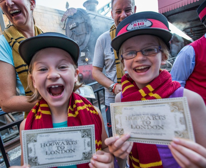 In celebration of the millionth rider to board the Hogwarts Express, Universal Orlando Resort  selected a few special children to  receive conductors' hats before boarding the train. Guests began boarding the iconic steam locomotive in early July, surpassing one million riders in a little more than a month. © 2014 Universal Orlando Resort. All rights reserved. HARRY POTTER, characters, names and related indicia are trademarks of and © Warner Bros. Entertainment Inc. Harry Potter Publishing Rights © JKR.  (s14)