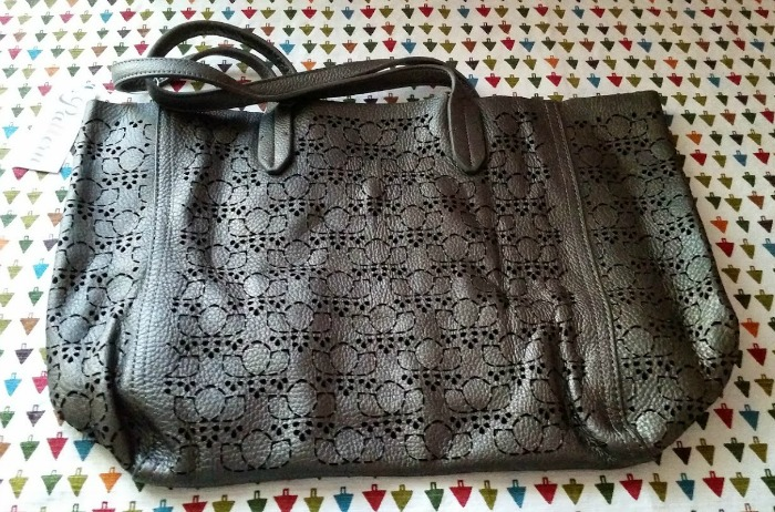 Pattern Signature Leather Bag - Gunmetal