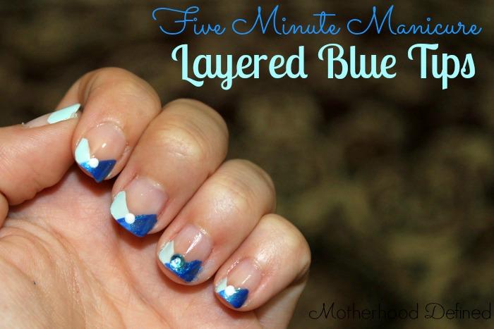 layered blue tips nail tutorial