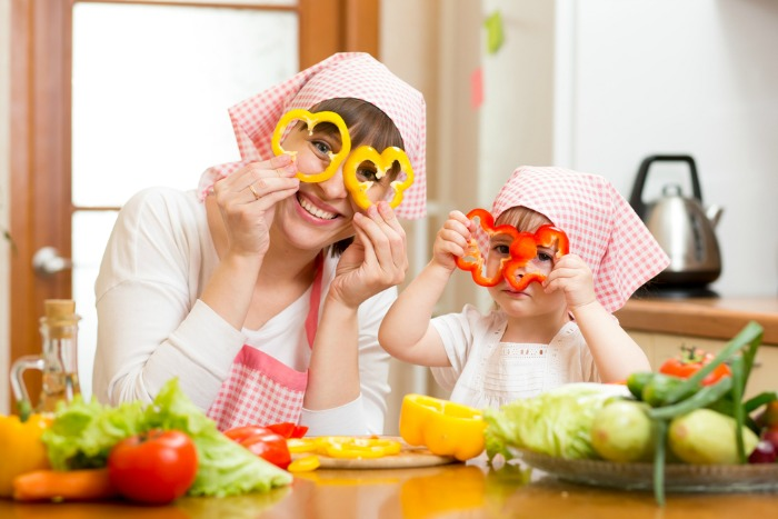 Get creative when cooking veggies in the kitchen with kids.