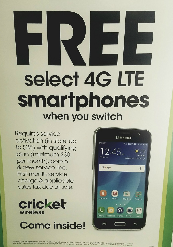 Select from one of four 4G LTE smartphones for FREE when you switch to Cricket