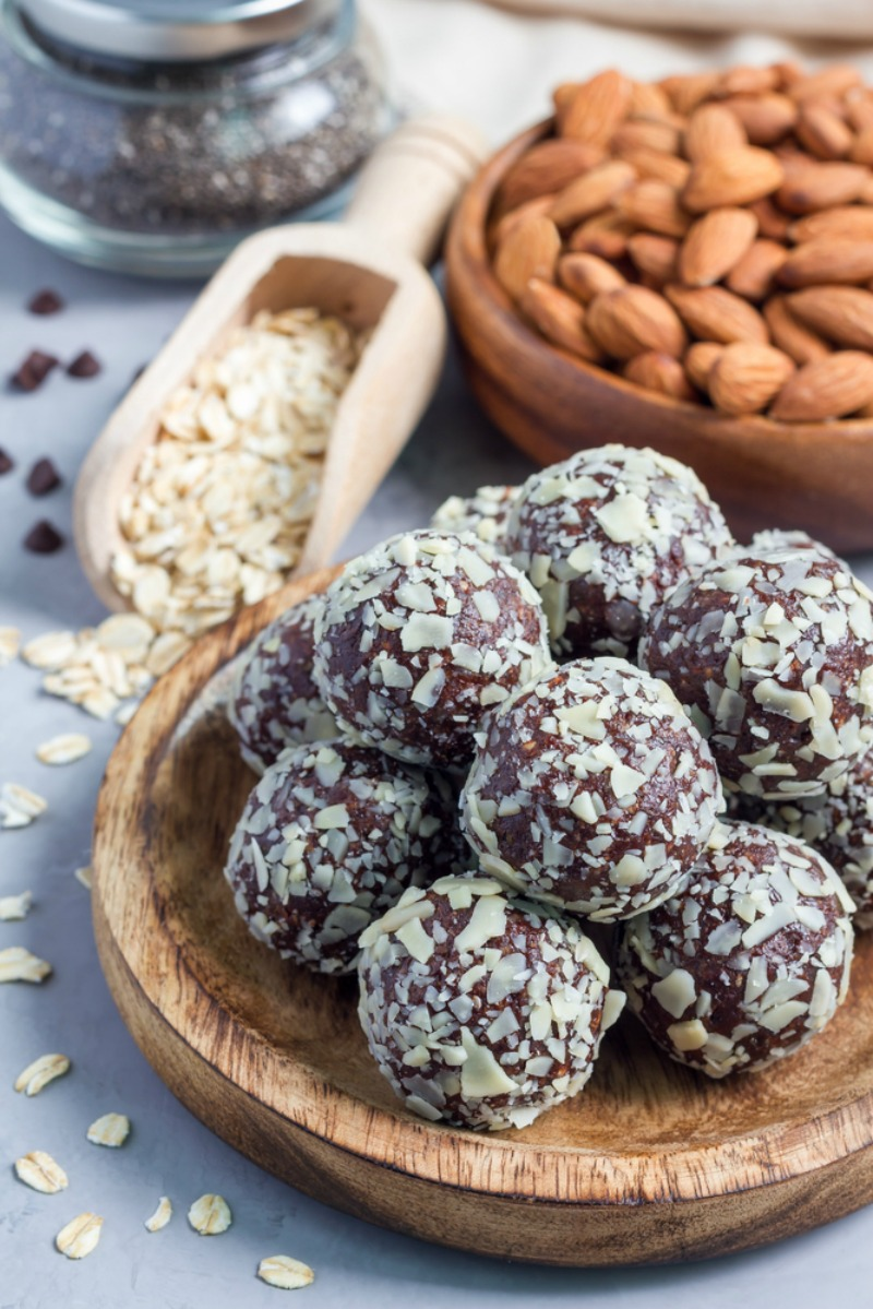 How to make no-bake chocolate energy balls with rolled oats, fruits, and nuts
