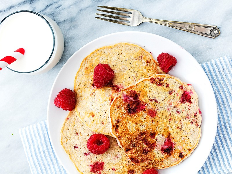 Raspberry Cottage Cheese Protein Pancakes