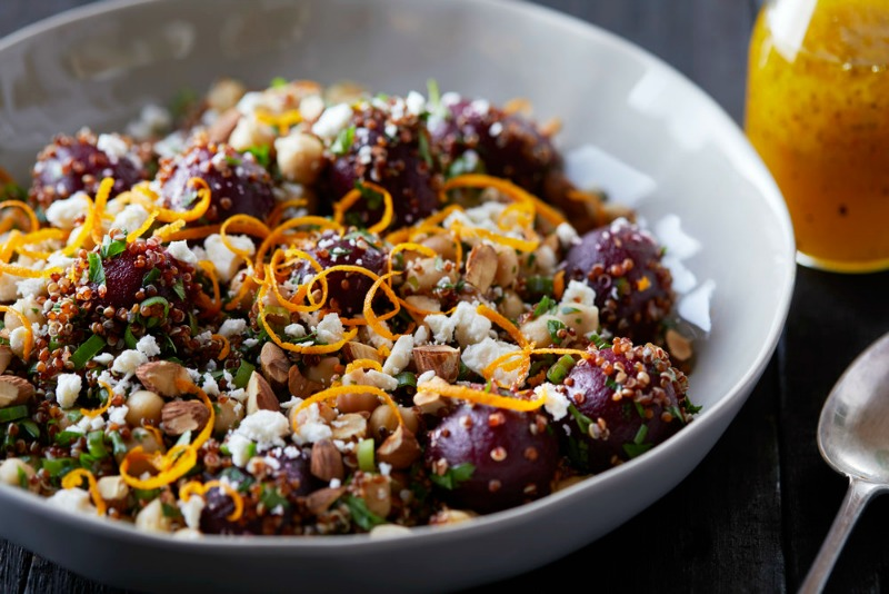 Pickled Beet and Red Quinoa Salad with Orange Vinaigrette