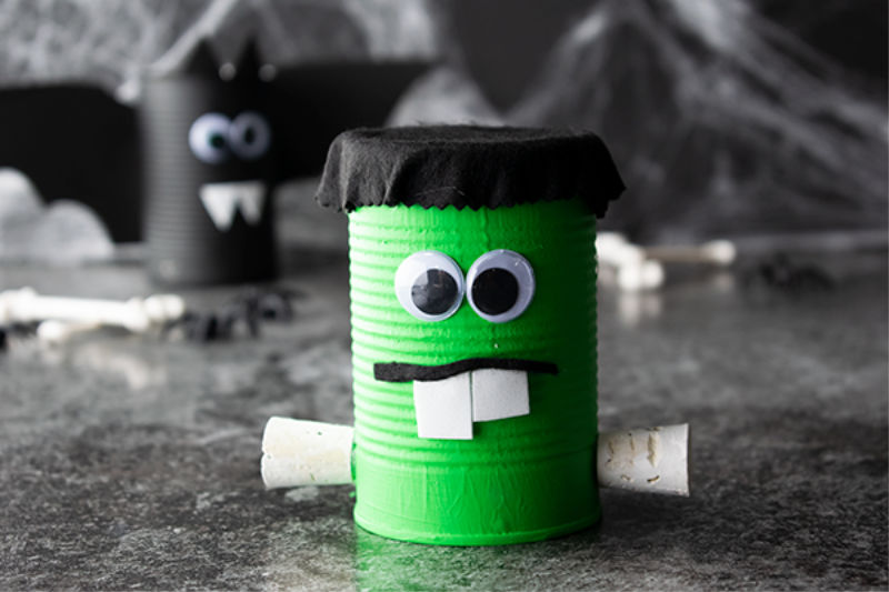 Frankenstein Halloween Can Craft