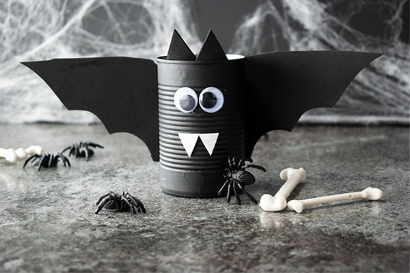 Spooky Bat Halloween Can Craft