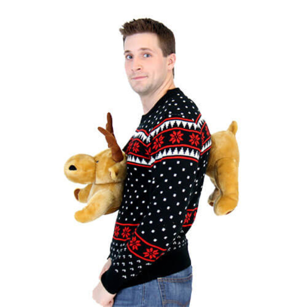 3-D Ugly Christmas Sweater with Stuffed Moose