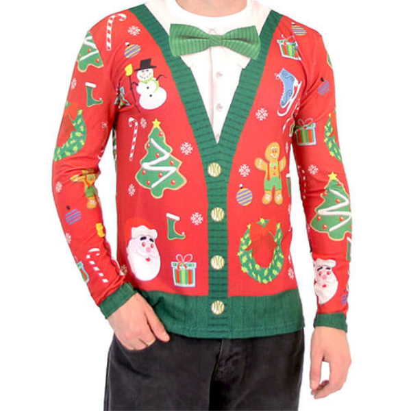 Christmas Cardigan with Bow Ugly Christmas Shirt