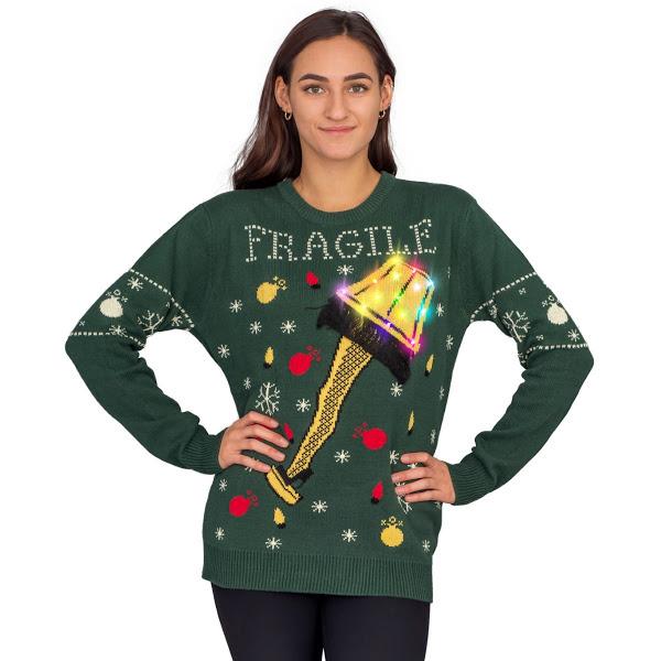 A Christmas Story Fragile Leg Lamp Light Up (LED Lighting) Ugly Christmas Sweater
